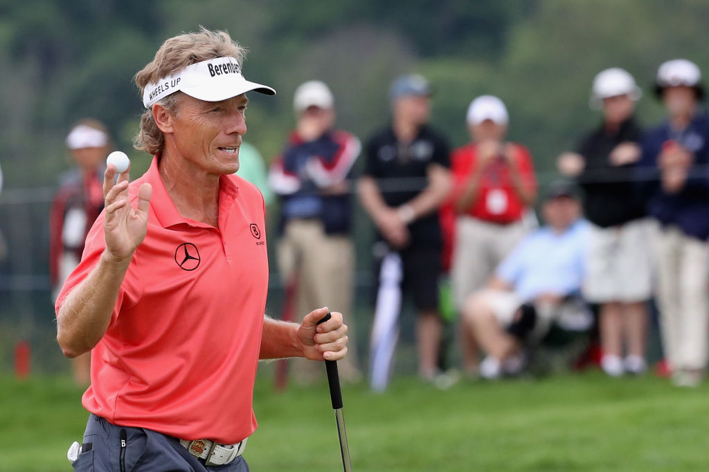 Mize ties Langer for lead at Senior PGA at Trump course