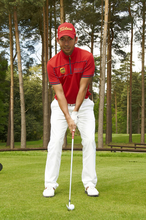 Ball in the centre of the stance for a regular mid-iron shot