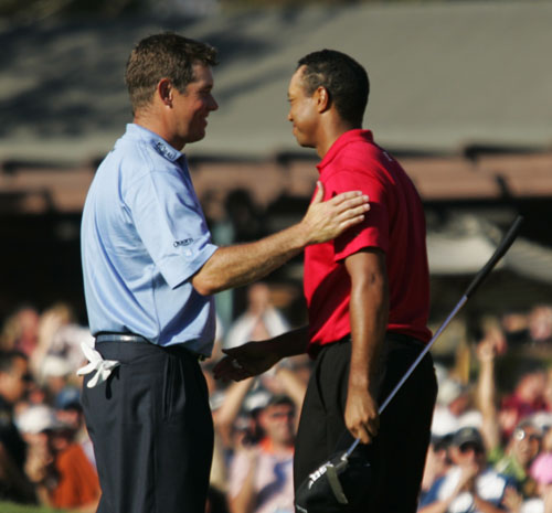 Woods and Westwood last clashed in the US open in 2008