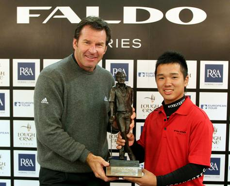 Sir Nick Faldo presents the trophy to last year's winner Masamichi Ito