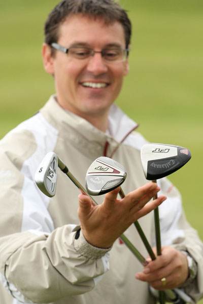 Steve North with club options - 5-iron, hybrid and fairway metal for playing shots into the wind
