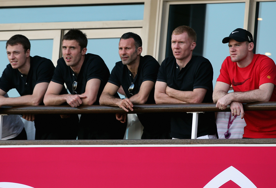 L-R: Manchester United stars Jonny Evans, Michael Carrick, Ryan Giggs, Paul Scholes and Wayne Rooney