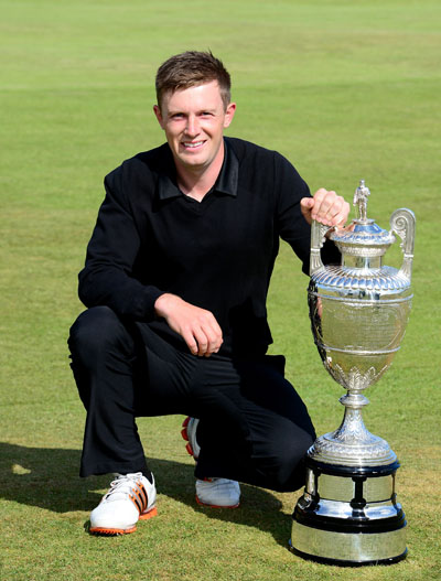 Garrick Porteous with the magnificent Amateur Trophy