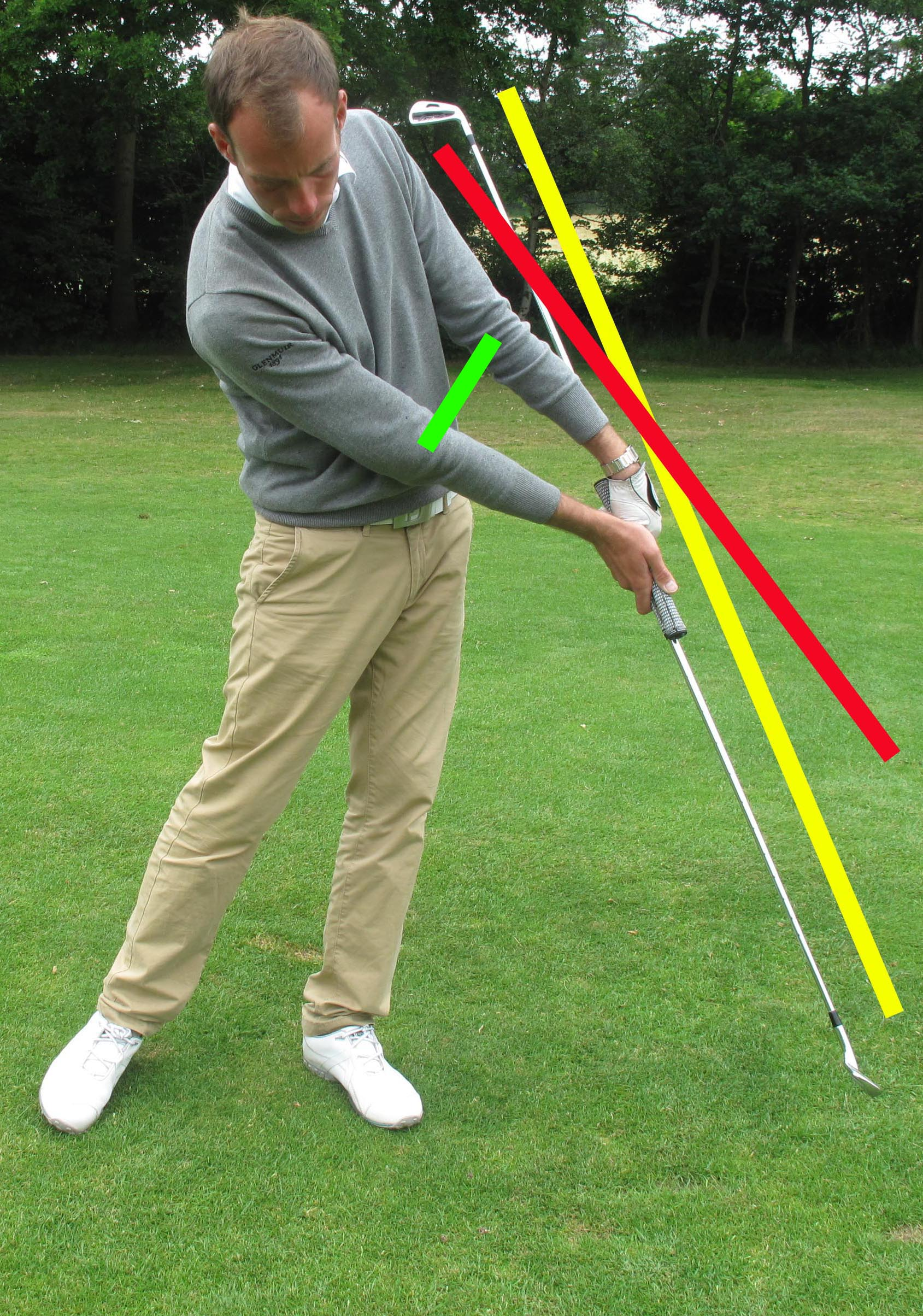 The double club forces you to push your hands forward at impact