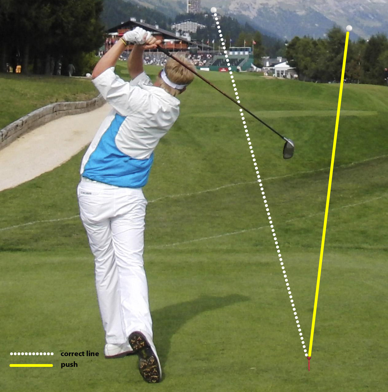 Fig.1 - The ball flight on a push shot is generally good, you just need to straighten it up
