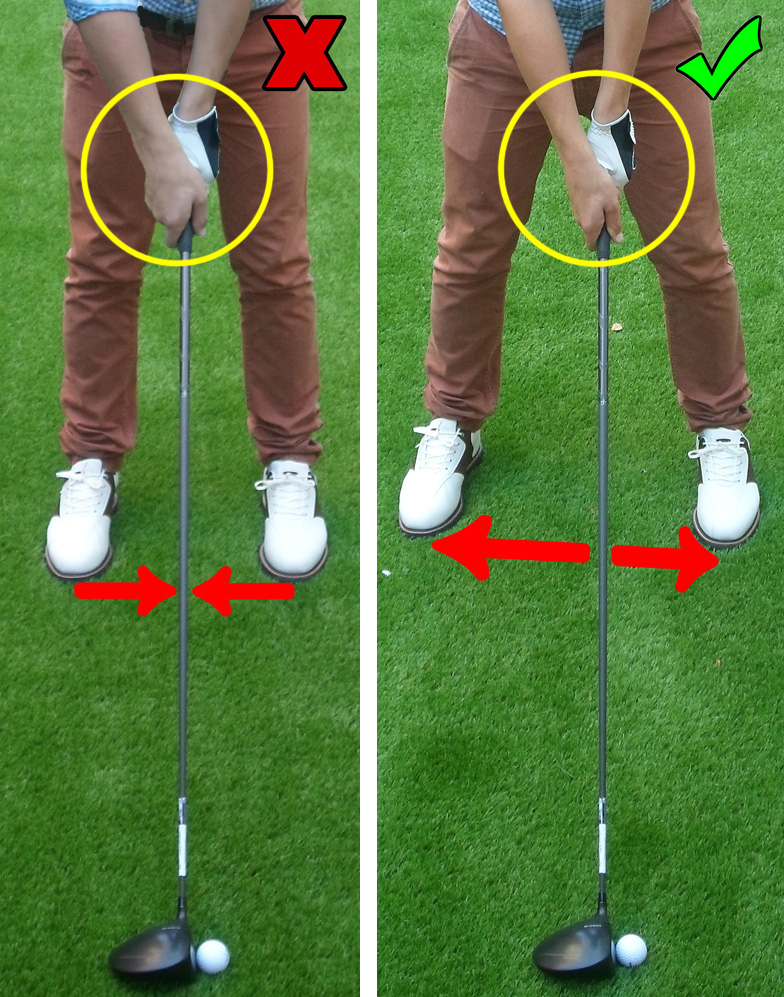 Fig.2 - Remember not to have a narrow stance or to turn your wrists over at impact (click to enlarge)
