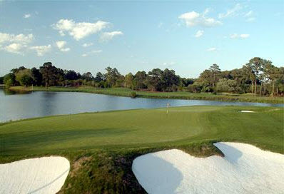 A view from behind the 18th green