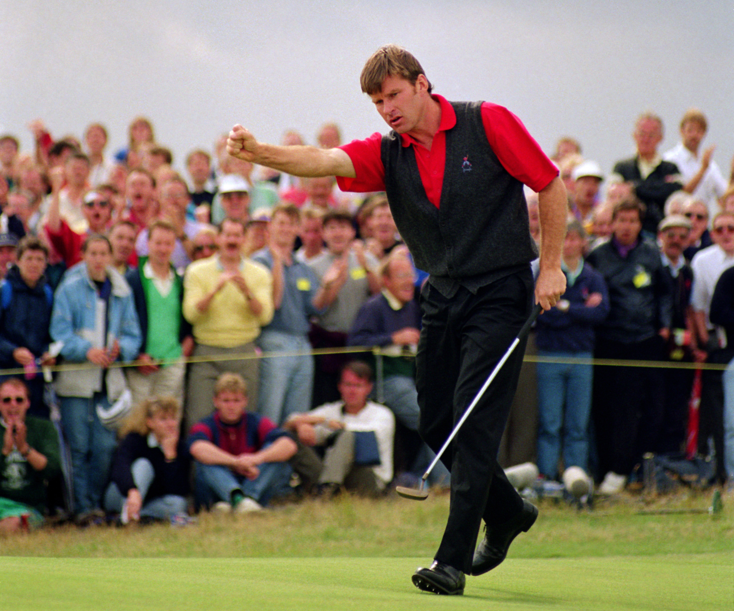 """His third and final Claret Jug came at Muirfield in 1992. Leading from the second round, Faldo went two behind John Cook after 14 holes on the final day before beating the American by one for his fifth major title. """"It is impossible to explain to outsiders the mental torture I endured that Sunday afternoon,"""" he wrote in his autobiography. (Photo: Getty Images)"""