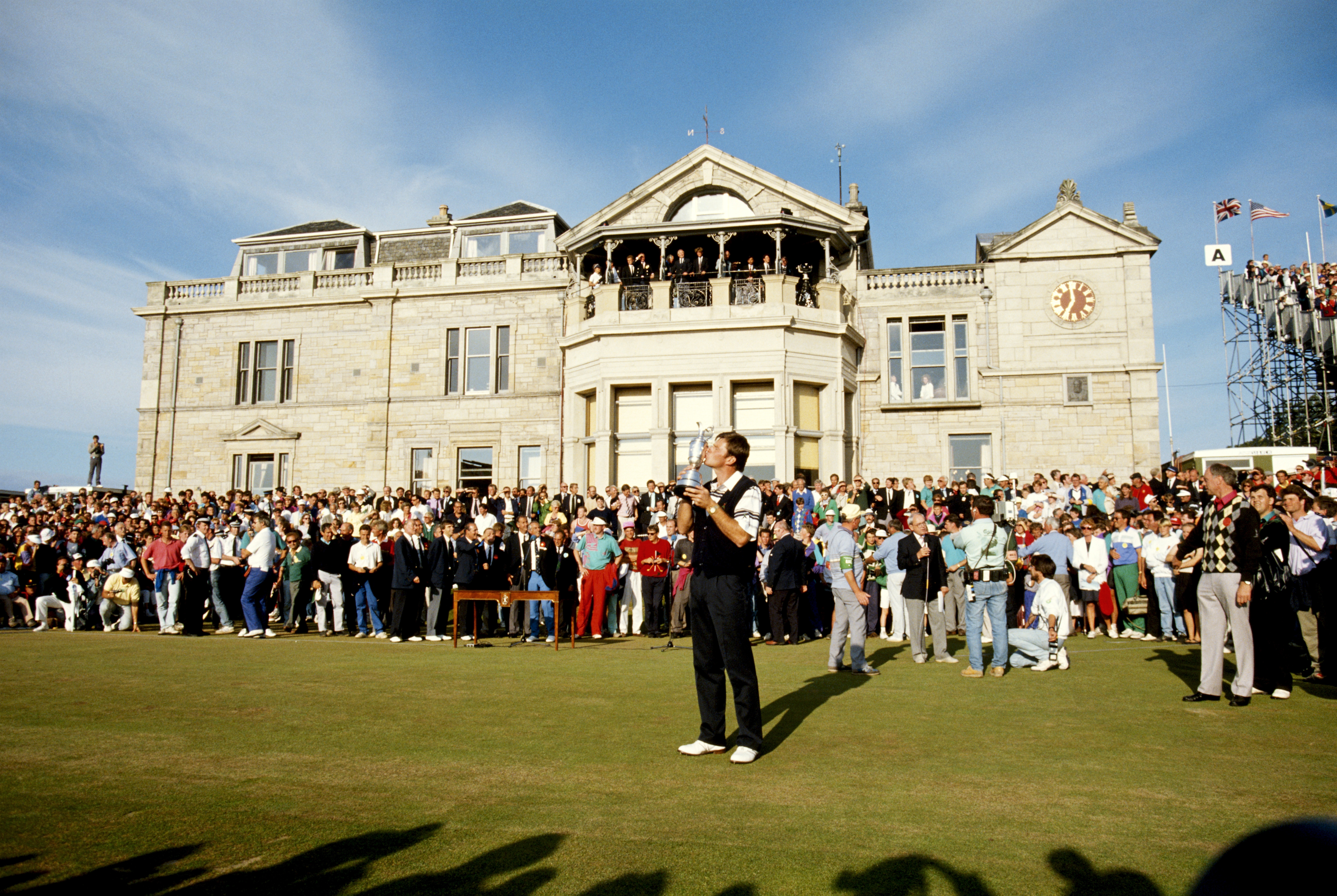 Faldo's second Open triumph came in 1990 when he finished five strokes clear of Mark McNulty and Payne Stewart at St Andrews. It came just three months after he scored back-to-back Masters titles and was his fourth major victory. (Photo: Getty Images)