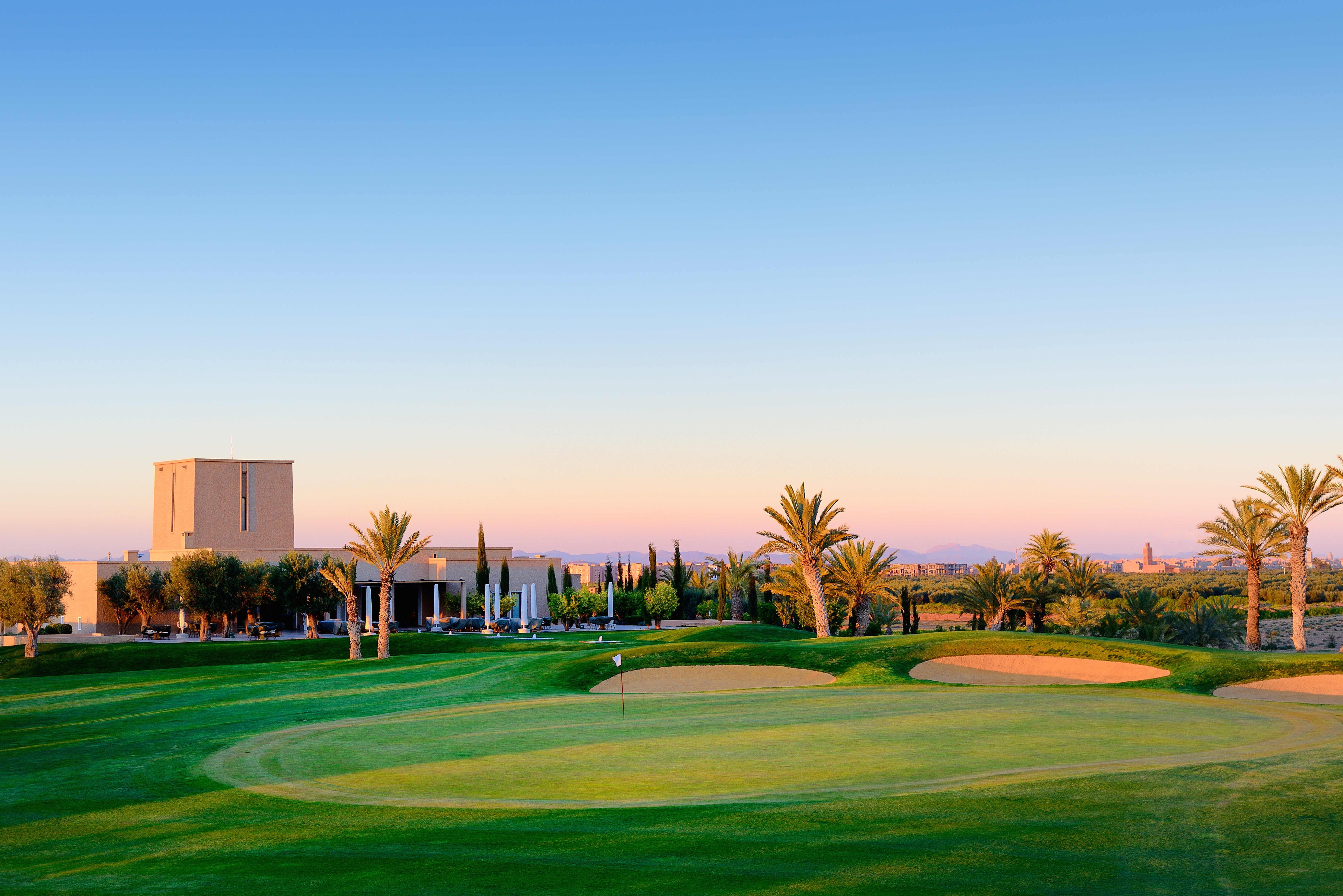 The elegant yet understated clubhouse at Assoufid occupies a prominent knoll
