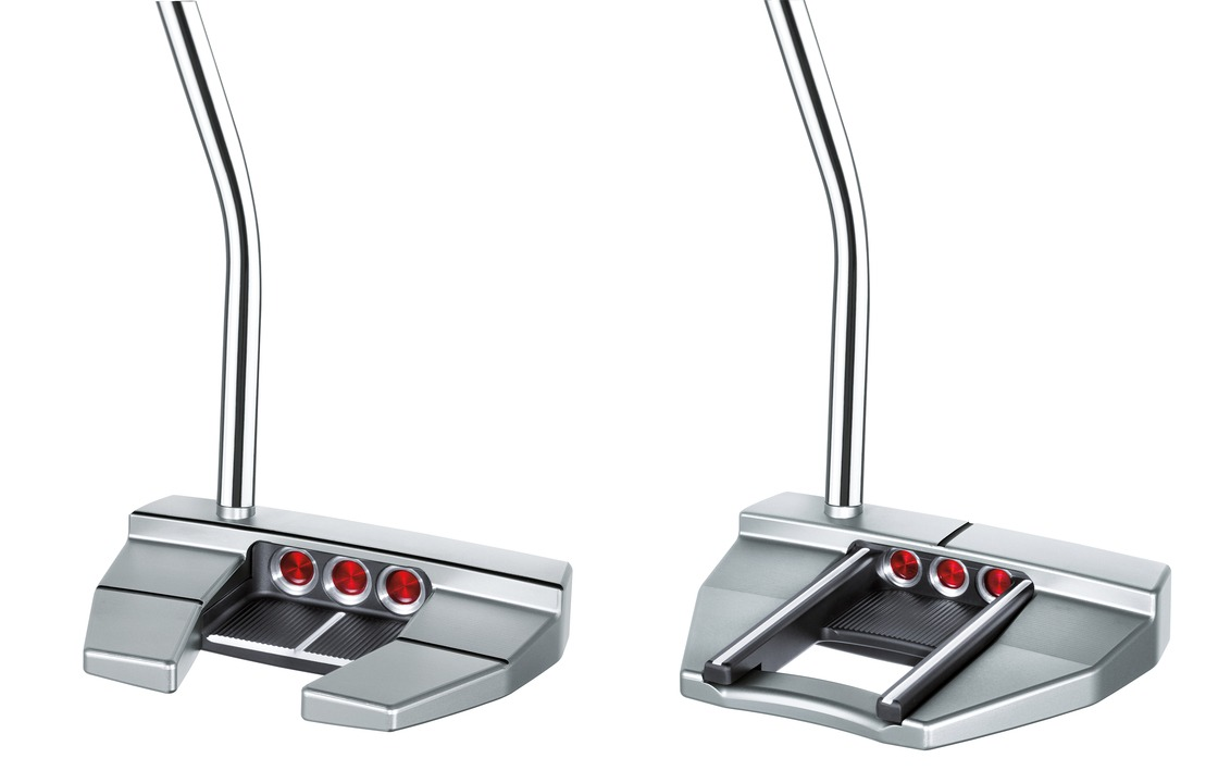 The Scotty Cameron Futura X7 putter (left) and X7M both maximise perimeter weighting