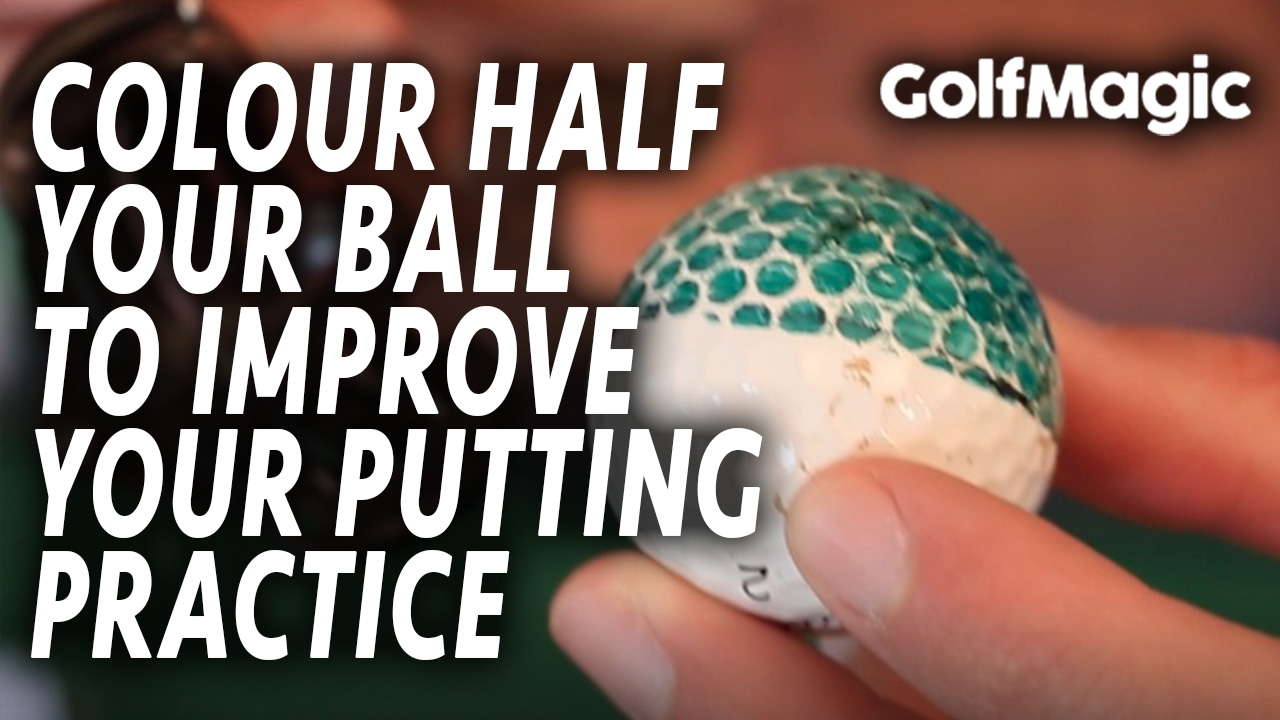 easy golf putting tips - colour half your ball to improve path