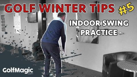 indoor golf swing practice drill