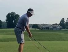 Golfer puts a HOLE in his driver as training drill goes BADLY wrong!