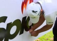 European Tour star gets golf ball stuck in sponsor sign, but what's the ruling?
