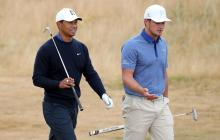 Tiger Woods and Bryson DeChambeau testing each other's golf balls