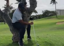 Golfer hits shot whilst sitting in a tree, but what's the ruling?