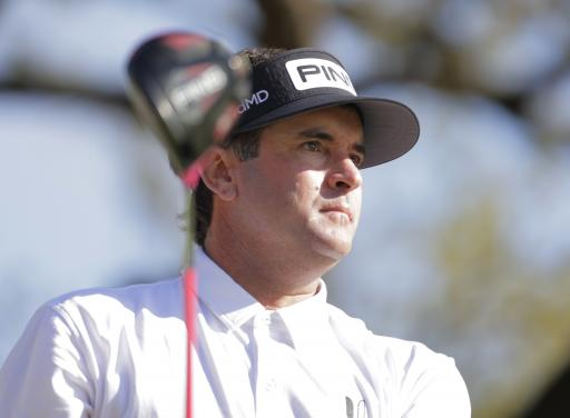 Bubba Watson shows off his new Jordan shoes ahead of The Masters