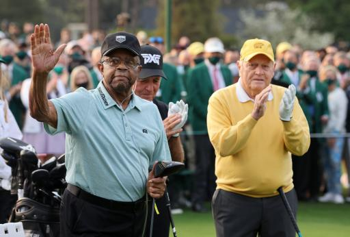 "Gary Player's caddie ""FLOGS GOLF BALLS"" during Lee Elder's big Masters moment"