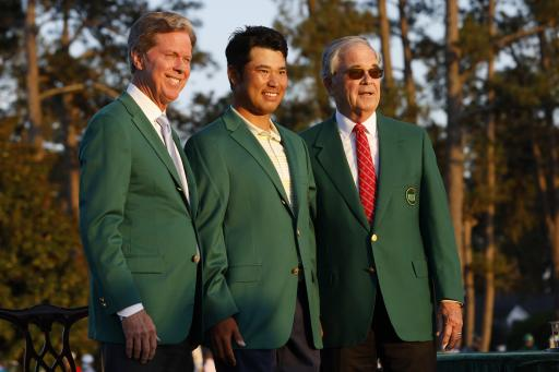 Golf fans react as Hideki Matsuyama is seen with his green jacket at the airport