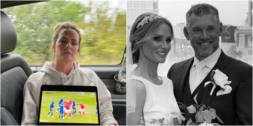 """Not just a good caddie"" - Lee Westwood rests iPad on sleeping wife Helen"