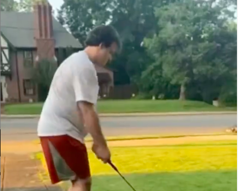 Golf fans react as golfer ACCIDENTALLY hits a shot at MOVING CAR!