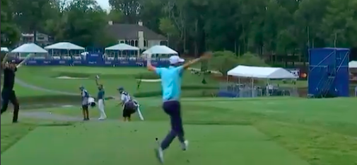Chesson Hadley ecstatically celebrates first hole-in-one at Wyndham Championship
