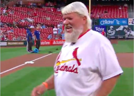 John Daly throws FIRST PITCH at St. Louis Cardinals baseball game