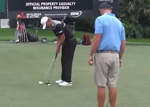 PGA Tour show video of Matt Jones extremely UNIQUE putting drill