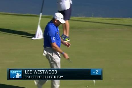 lee westwood whiffs ball as sends it into water