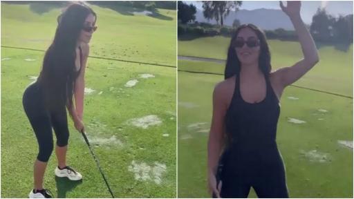 Kim Kardashian shows off her golf swing and new Callaway bag