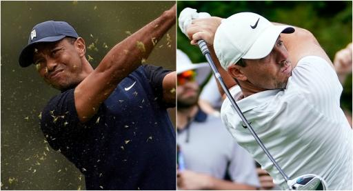 Tiger Woods and Rory McIlroy take part in TaylorMade DRIVING CONTEST