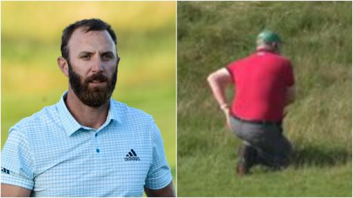 Dustin Johnson SMACKS a course marshal on the BACKSIDE at The Open