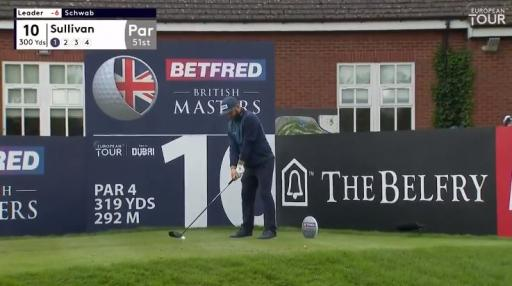 Andy Sullivan drives the green over water during British Masters first round