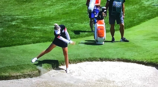 Nelly Korda WHIFFS bunker shot on her final hole at Evian Championship