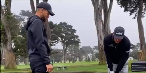 WATCH: Phil Mickelson plays FLOP shot over NBA star Steph Curry
