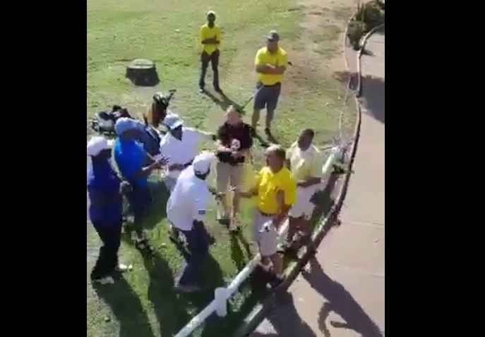 fight breaks out on south african golf course