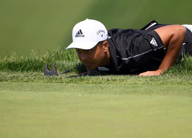 Golf fans react as Xander Schauffele does PUSH-UPS on the greens at US Open