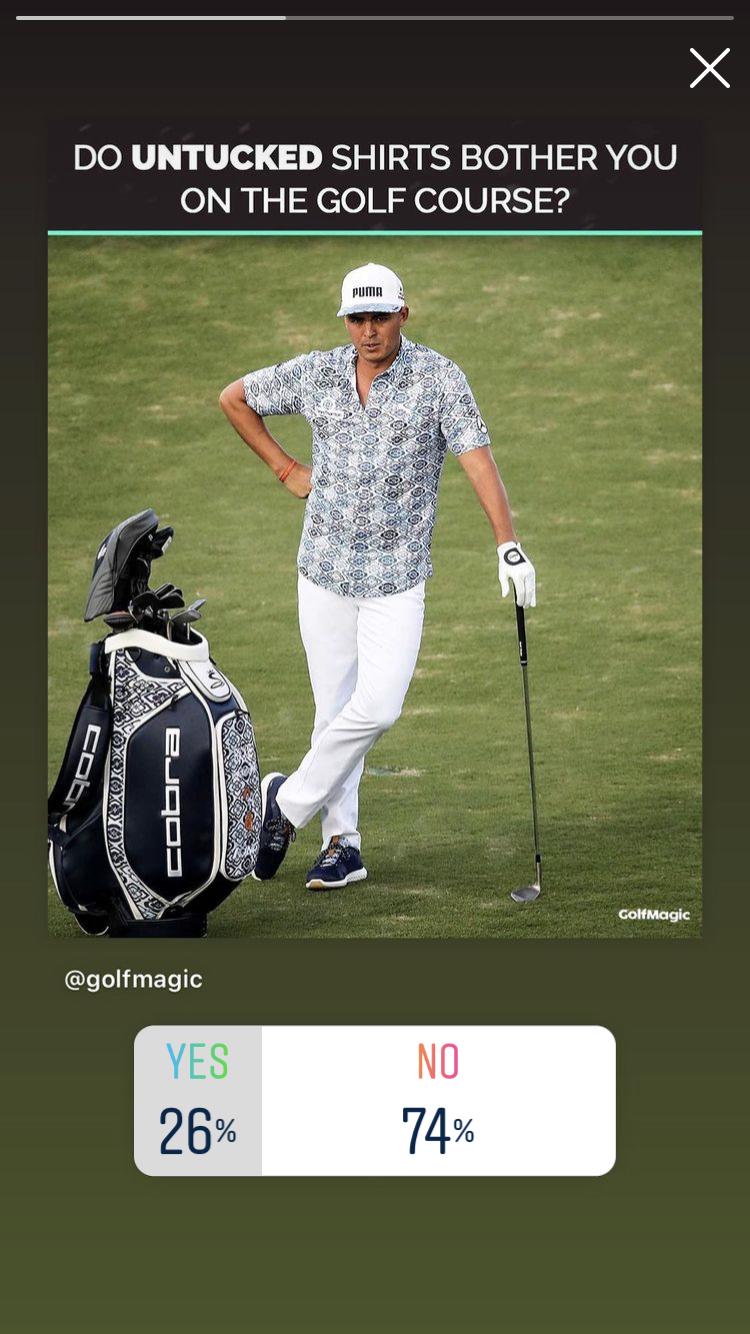 GOLF POLL: 26% of our followers say UNTUCKED SHIRTS bother them!