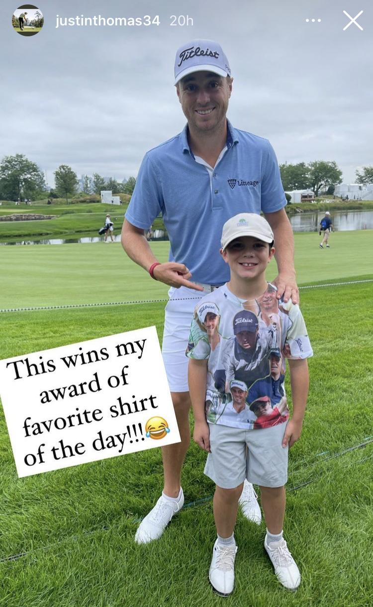 Justin Thomas gives little fan HIS GOLF SHOES at the Northern Trust!