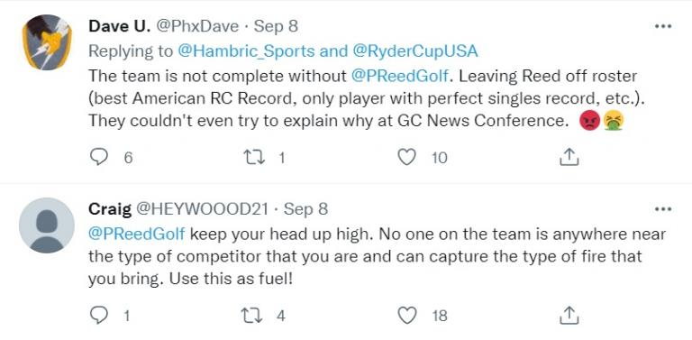 Patrick Reed: Twitter account LIKES critical comments of Stricker