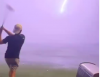 Golf fans react as airborne ball is STRUCK BY LIGHTNING at TopGolf in America!